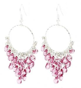 Dark Pink Crystal Chandelier Hoop Earrings - Lightweight